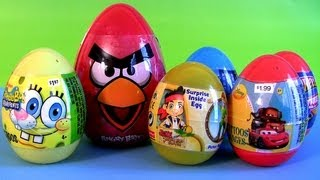 Angry Birds Toys Surprise Jake NeverLand Pirates and SpongeBob Eggs