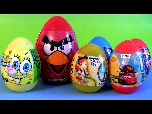Angry Birds Toy Surprise Jake NeverLand Pirates Disney Pixar Cars2 Spongebob Huevos Sorpresa
