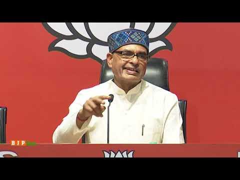Shri Shivraj Singh Chouhan addresses a press conference at BJP HQ.