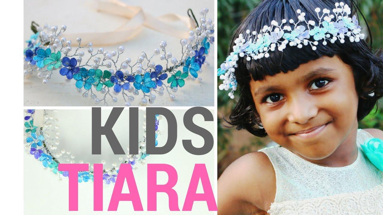 Diy Tiara For Kids Nail Polish Flowers And Pearls Design