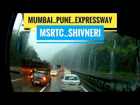 MSRTC Shivneri Volvo Bus Cruising On Mumbai Pune Expressway In Heavy Rains