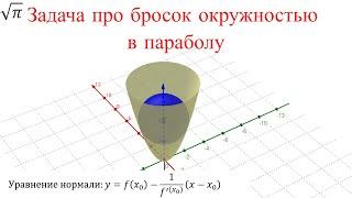 Как расположится окружность если бросить её в параболу?