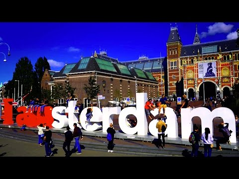 4K One-Hour Window - iAmsterdam Sign on Museumplein in Amsterdam, Rijksmuseum, Van Gogh Museum