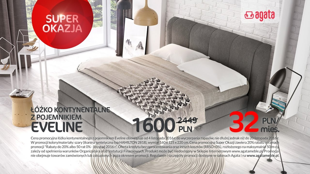 łóżko Kontynentalne Z Pojemnikiem Eveline