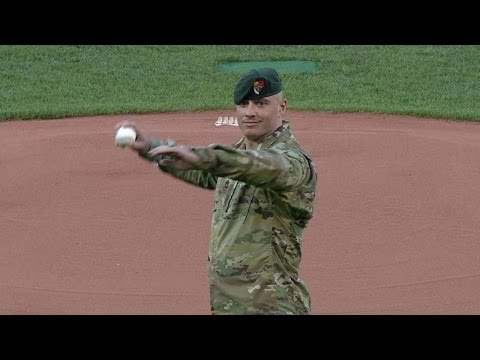 TEX@BOS: Sgt. Lavery throws out the first pitch