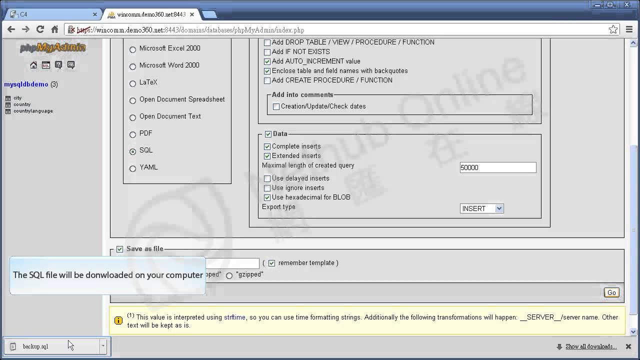 Import And Export The MySQL Database Backup Restore Plesk - Backup and restore procedures template