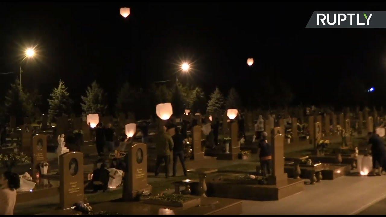 Запуск фонариков на кладбище «Город ангелов» в Беслане