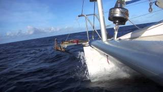PDQ 32 catamaran sailing from Guadeloupe to Dominica