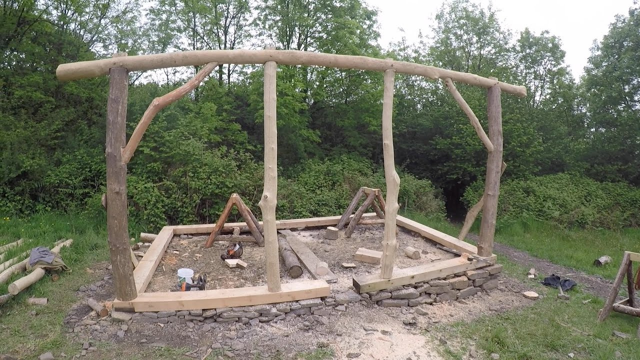 Roundwood Timber Framed Shed Part 4 Frame Raising Youtube