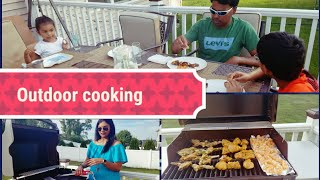Family Fun Outdoor Cooking vlog in TAMIL | meat grilling | Dinner Routine| fathers day special