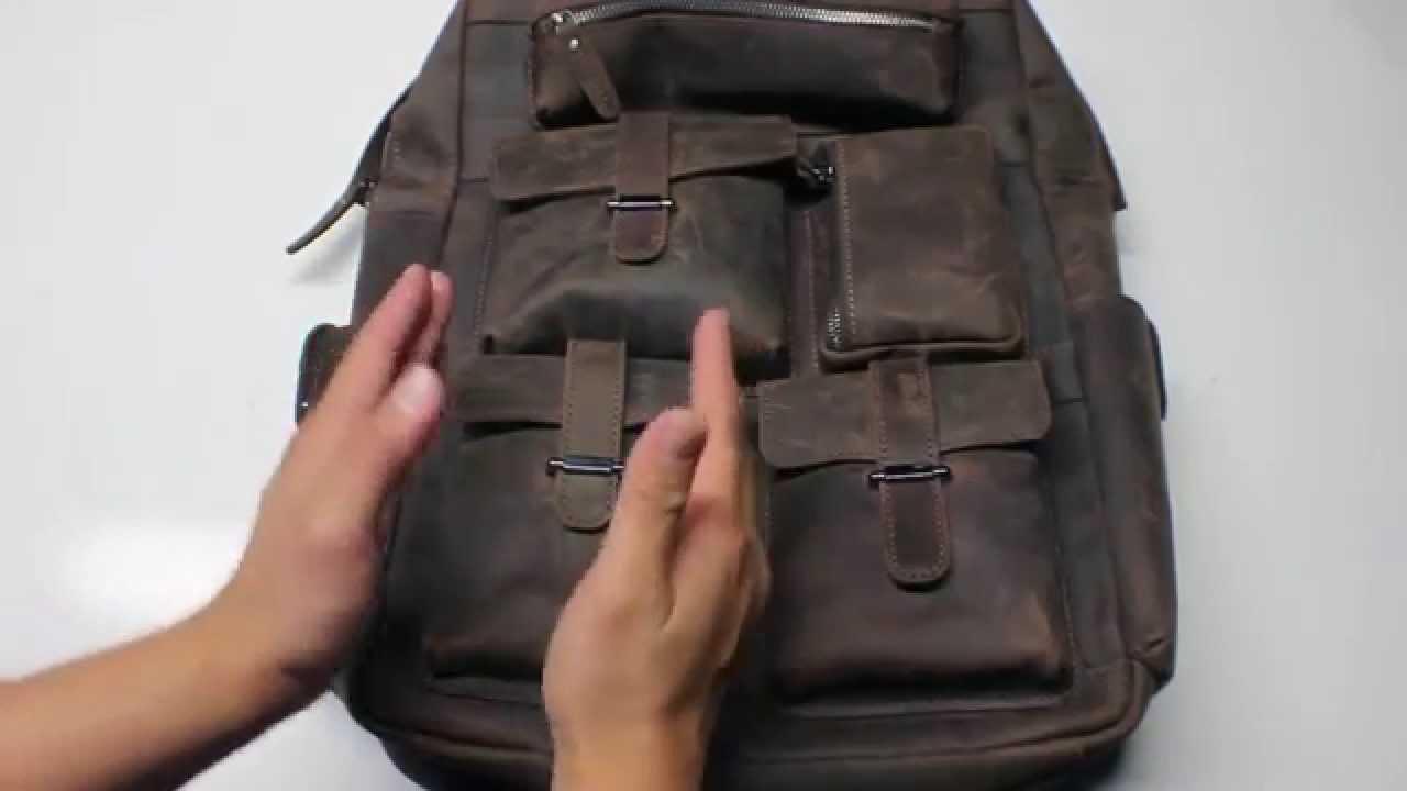 PR  S ZONE (S-ZONE D04V274A) Vintage Crazy Horse Genuine Leather Multi  Pockets Backpack 995ed36761958