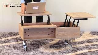 Smart double - duty coffee table for those who love to do everything from their sofa. Two lift up extensions turn your coffee table into