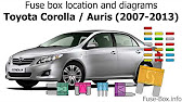 Fuse Box Location And Diagrams Toyota Corolla Auris 2007 2013 Youtube