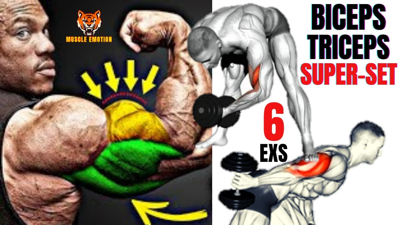 6 Best biceps and triceps AT HOME (DUMBBELLS ONLY)   SUPERSET TRICEPS & BICEPS