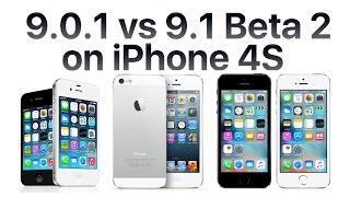 iPhone 4S iOS 9.1 Beta 2 vs iOS 9.0.1