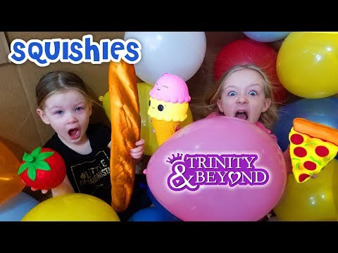 Box Fort Stair Slide Challenge Into Balloons! Squishy Food Scavenger Toy Treasure Hunt!!!
