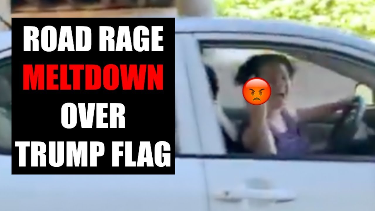 Zeducation LADY HAS ROAD RAGE MELTDOWN OVER TRUMP FLAG