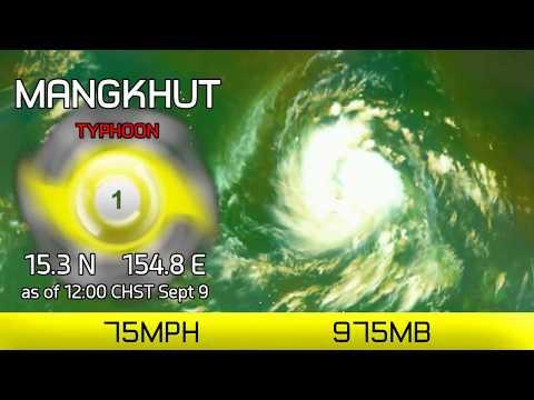 Typhoon Mangkhut approaches Mariana Islands - 12pm CHST, Sept 9 2018