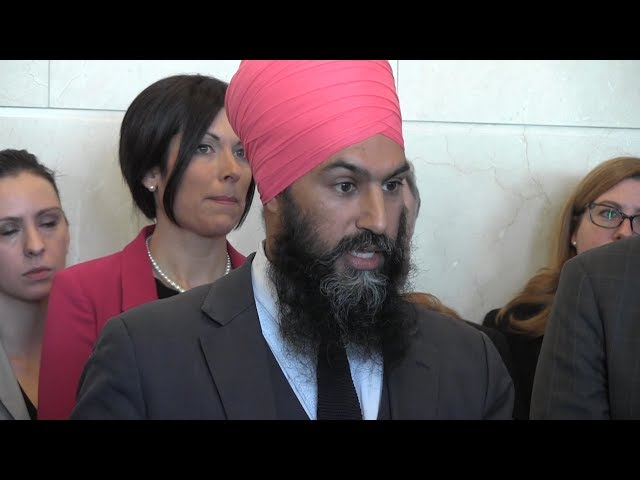 """Jagmeet Singh is affirming his stance against political violence after videos emerged showing him at events where people promoted Sikh independence and violence. But the NDP leader says he supports the right to discuss """"self-determination."""" (The Canadian Press)"""