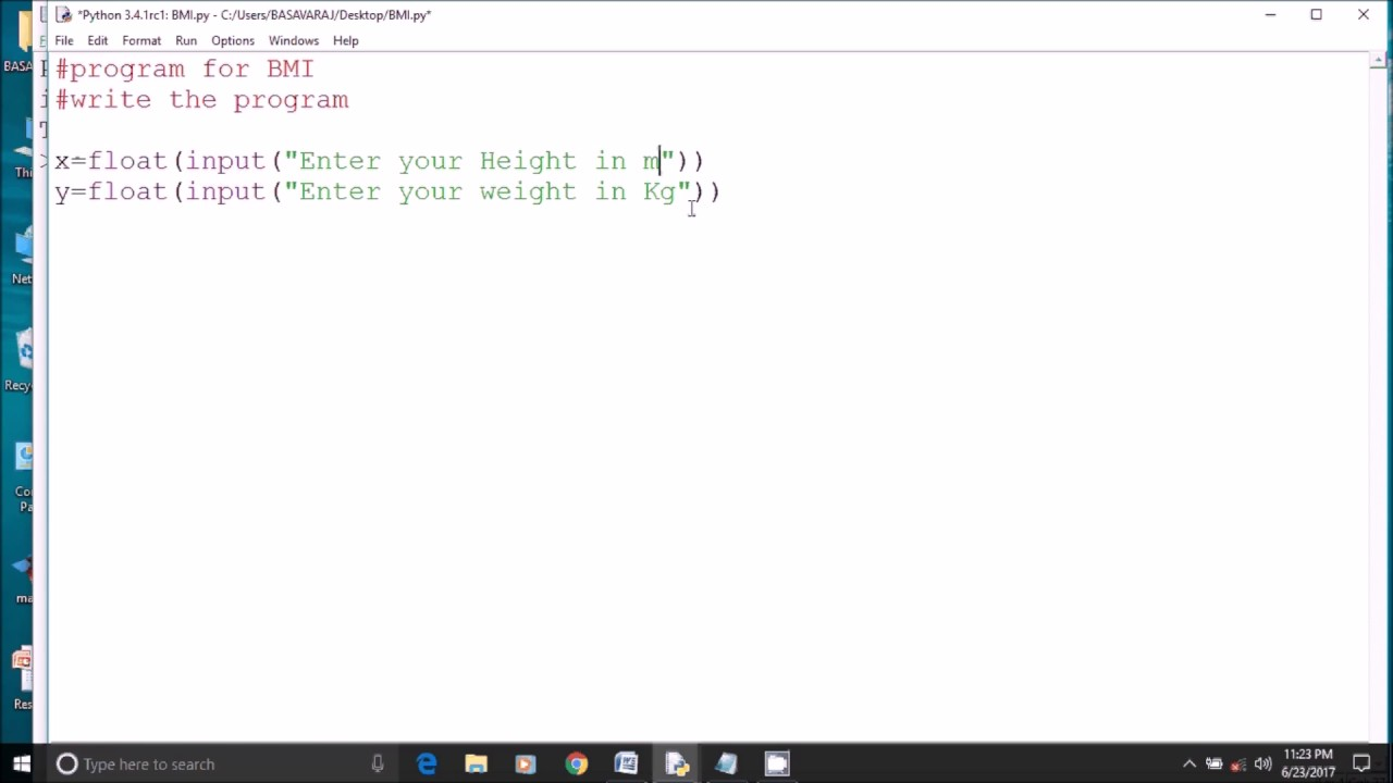 Python Program For Finding Body Mass Index (bmi)