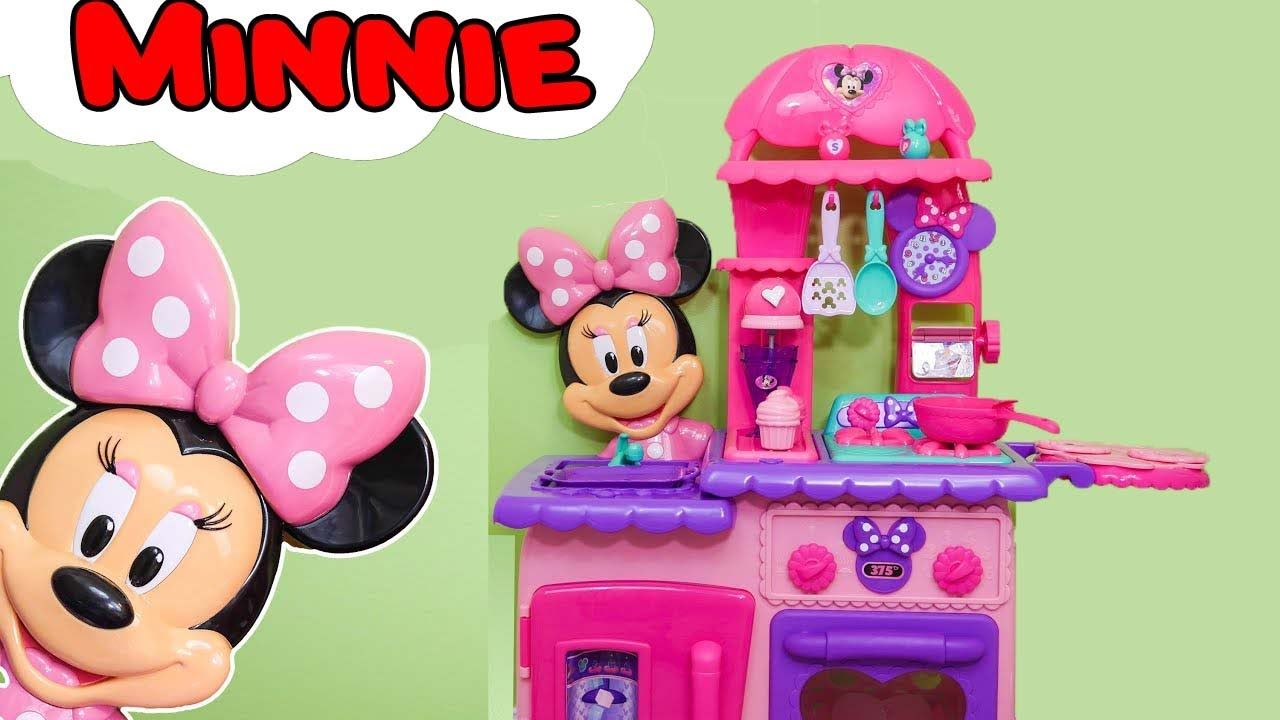 Minnie mouse flipping kitchen a funnytoys unboxing youtube for Best kitchen set for 4 year old