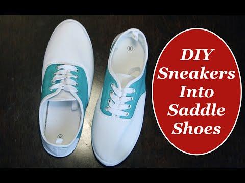 75df7c31b0 DIY Sneakers into Saddle Shoes The Rachel Dixon Tutorial Vintage Retro  Rockabilly