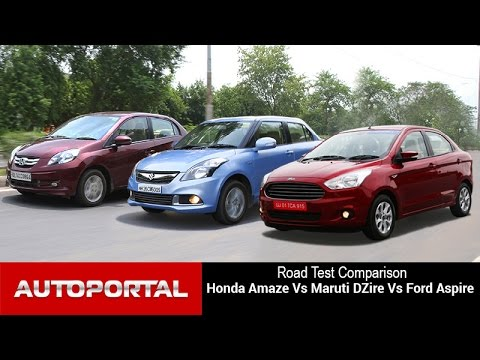 Honda Amaze Vs Maruti Swift DZire Ford Aspire Comparison Review