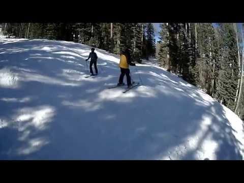 Skiing Nuther Mother at Pajarito Ski area near Los Alamos, New Mexico, USA
