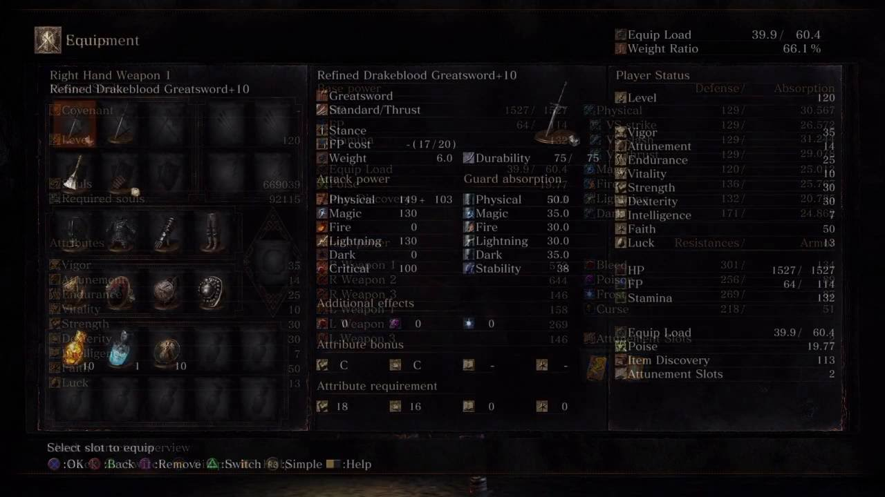 Dark Souls III - STR/DEX/FTH Build SL 120 (Drakeblood GS/Exile GS)