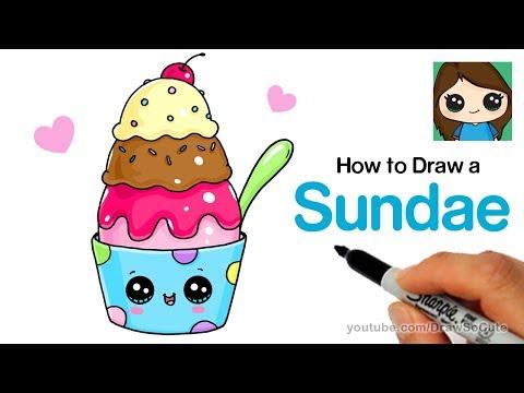 How to Draw an Ice Cream Sundae Easy and Cute