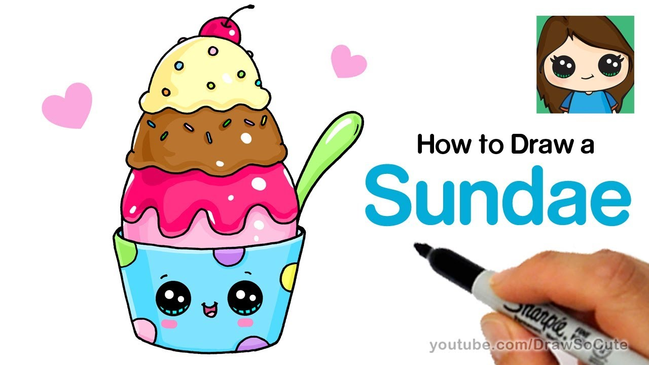 How To Draw An Ice Cream Sundae Easy And Cute Youtube