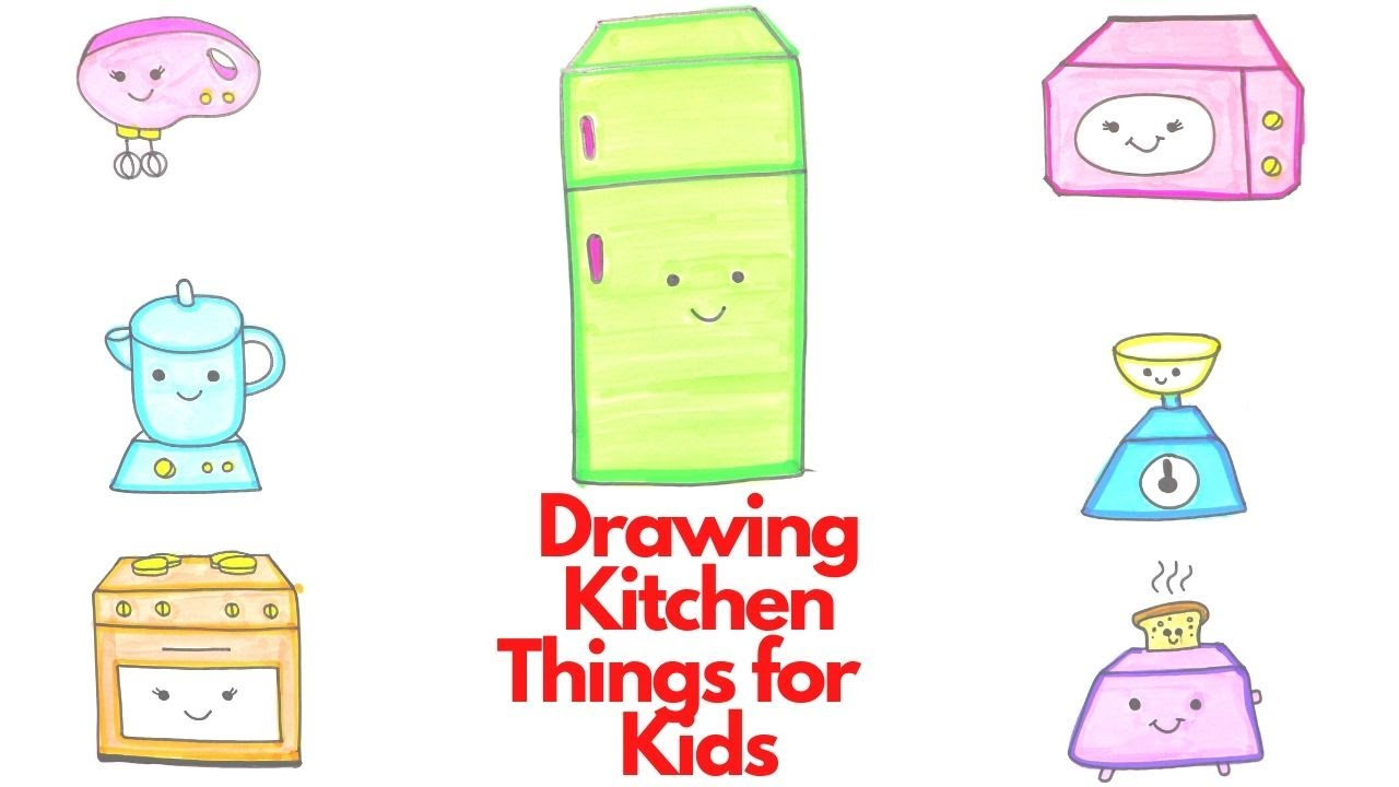 How To Draw Kitchen Things For Kids Drawing And Coloring For Kids Youtube