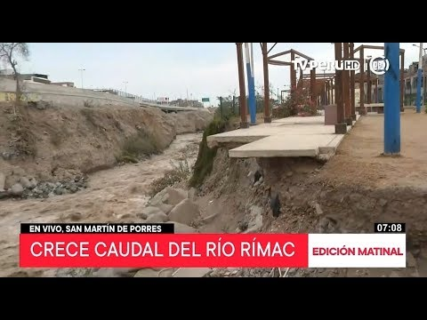 Crecimiento del caudal del río Rímac pone peligro viviendas aledañas