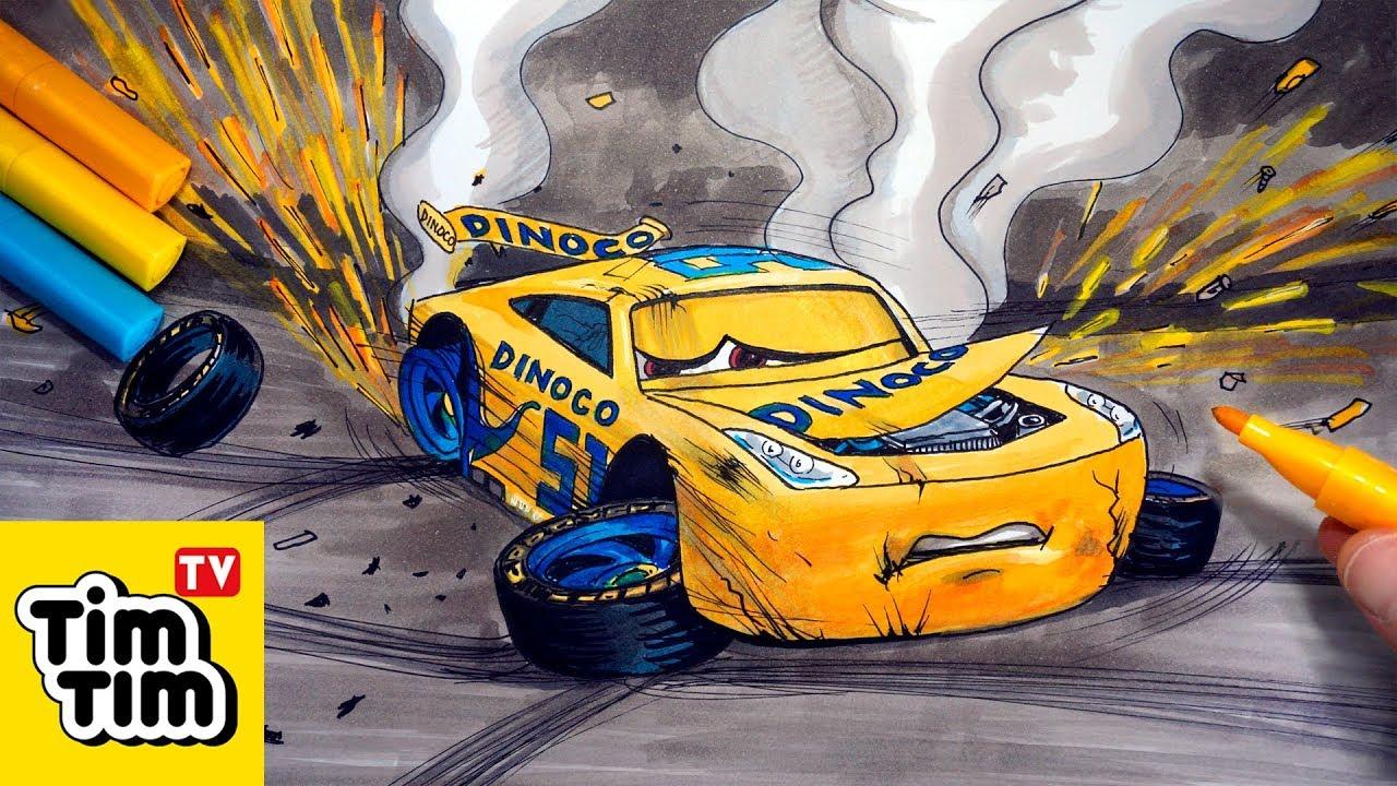How to draw CRUZ RAMIREZ Crashed Badly Injured CARS 4 ...