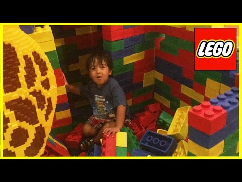 GIANT LEGO World's biggest indoor playground LegoLand Discovery Center kids Video Ryan ToysReview