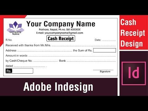 How To Design Cash Receipt In Adobe Indesign नगदी रसिद कसरी बनाउने