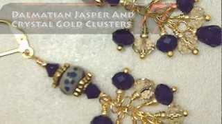 Dalmatian Jasper And Crystal Gold Cluster Earrings