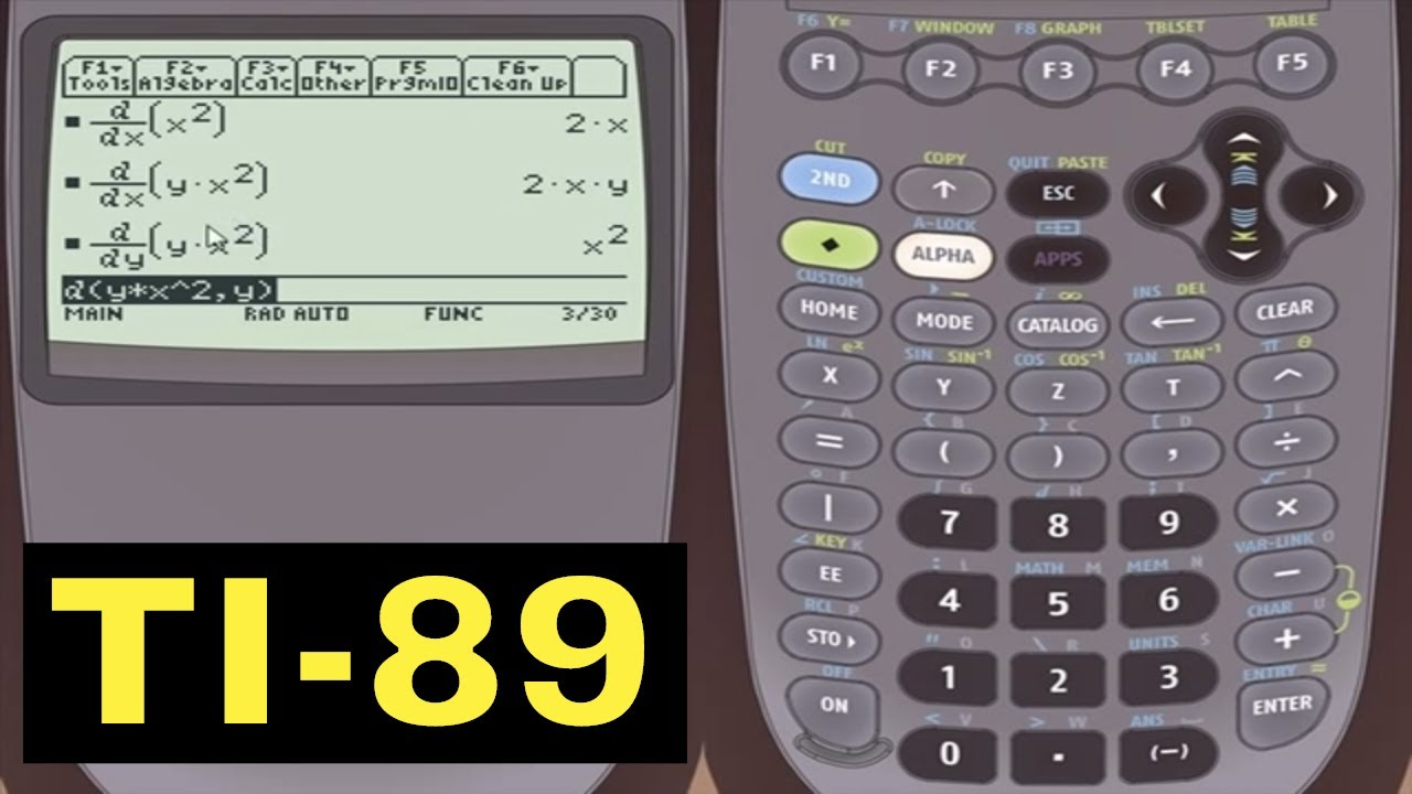 TI-89 Calculator - 02 - Taking Partial Derivatives using the