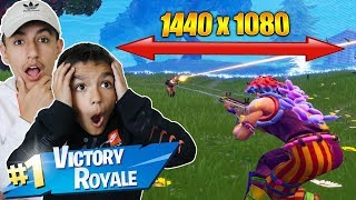 So I Tried Stretched Resolution With My Little Brother In Fortnite! Victory Royale!