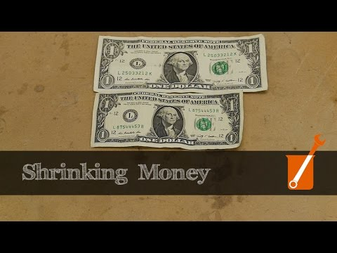 Shrinking paper money with ammonia