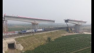 High-speed railway girders rotate, connected