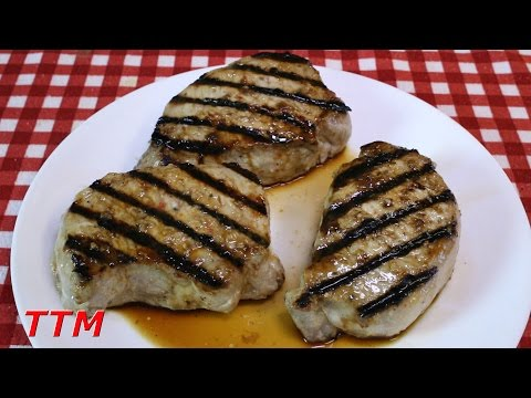 Grilled pork chops on stove top