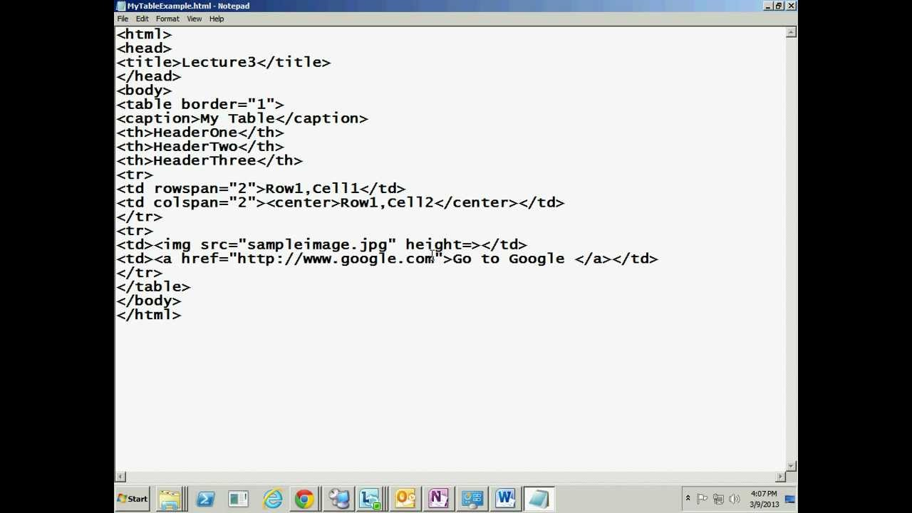 HTML Tutorial in Hindi 3 (Table tag and its attributes ...