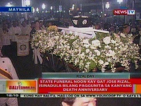 BT: State funeral noon kay Gat Jose Rizal, isinadula bilang paggunita sa death anniversary