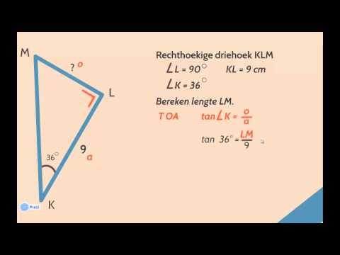 Zijden berekenen met de sinus, cosinus en tangens van een hoek