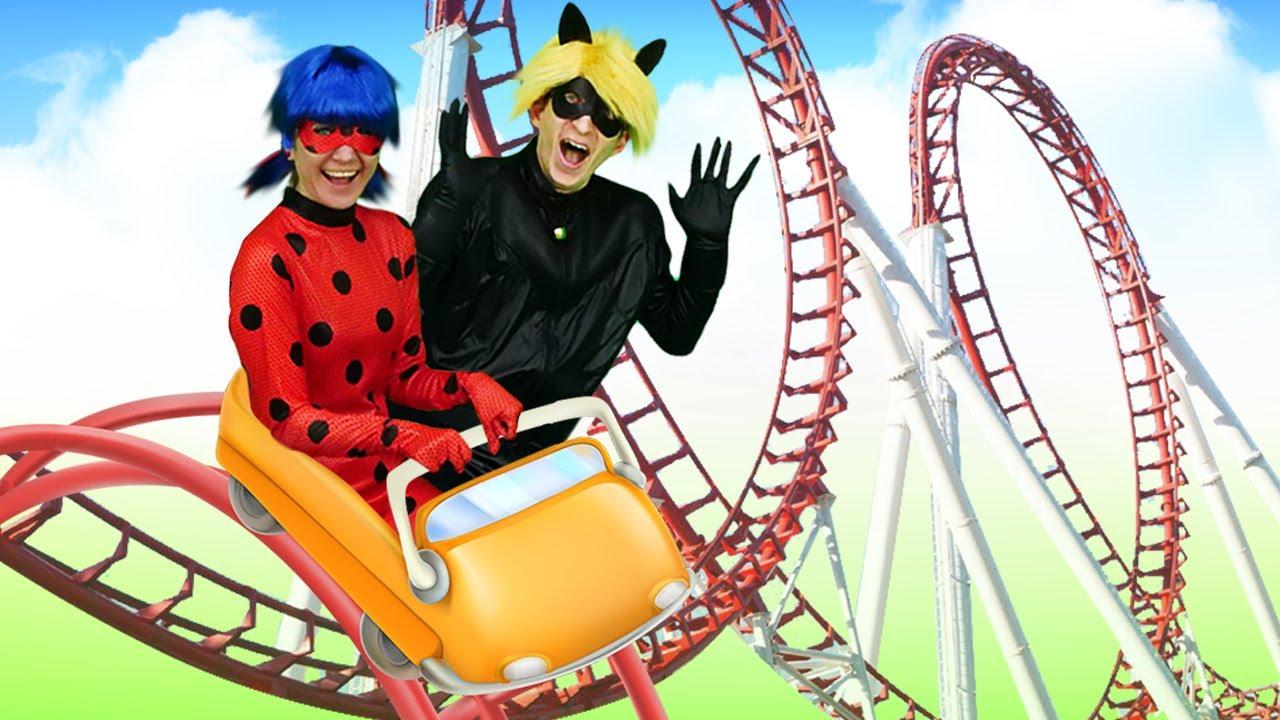 Леди Баг и Супер-Кот в Парке развлечений! Куклы ЛОЛ, София и Мэдисон тоже здесь! Видео для девочек