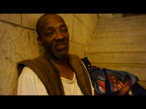 Thomas is homeless in NYC and rides the train all night to sleep.