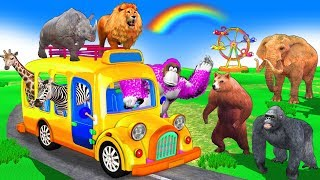 Learn Wild Animals Go To Outdoor Playground for Kids Children - Wheels On The Bus Nursery Rhymes