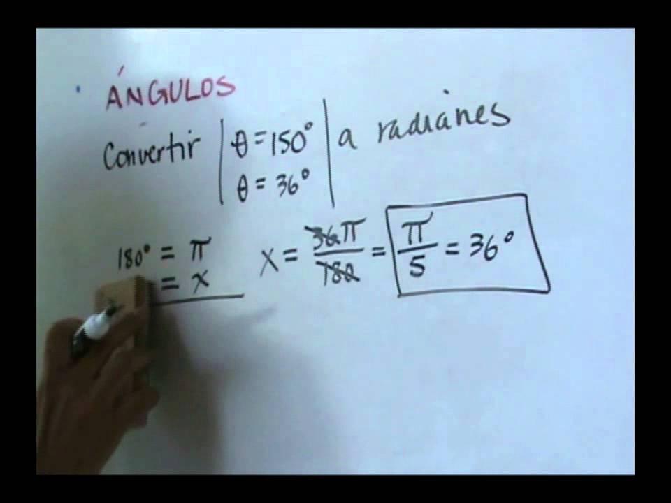 Angulos conversion de grados a radianes - YouTube
