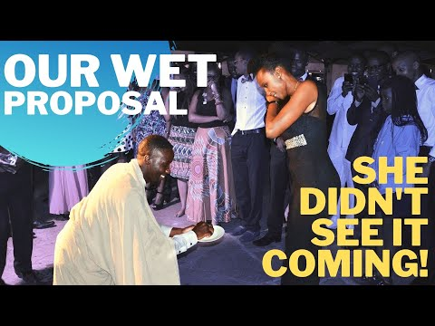Soila & Curtis. Best Kenyan Wedding Proposal - Dude jumps into swimming pool with tuxedo to propose.